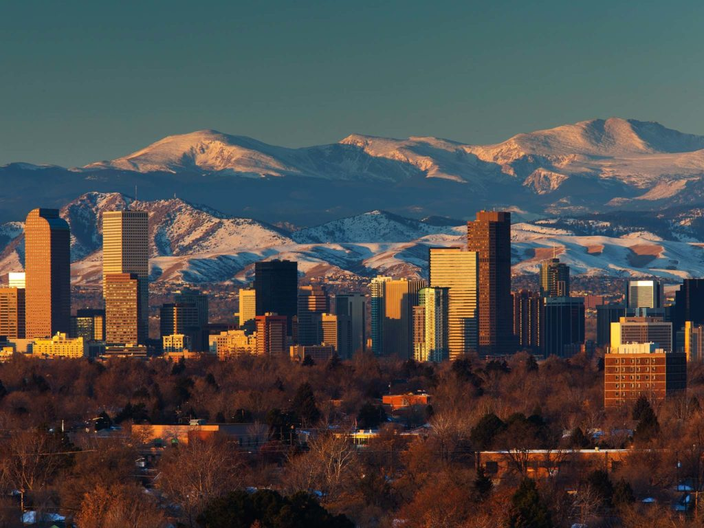 Denver Colorado Skyline and Mountains