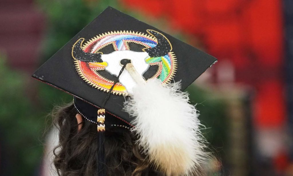 Graduation cap with feather and cow skull design