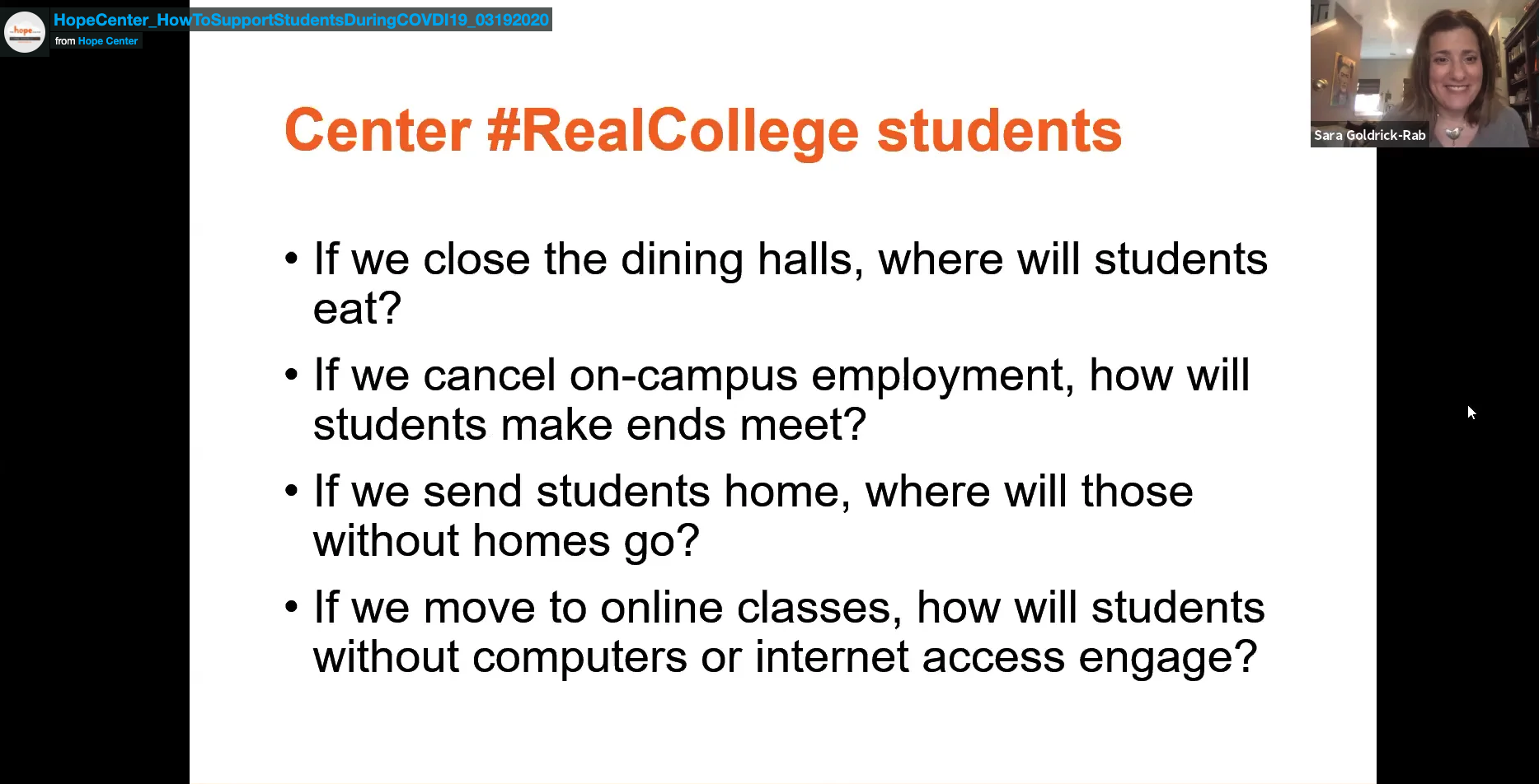 Webinar-Meeting Student's Basic Needs and Keeping them Enrolled During COVID-19