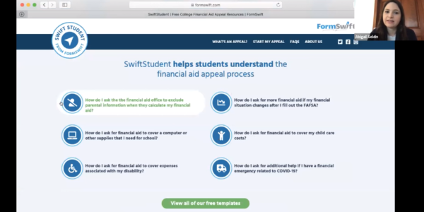 Webinar on the new Swift Student financial aid appeal resource