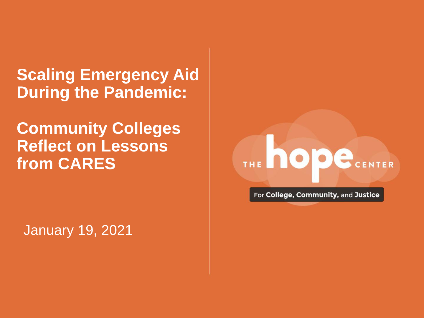 Scaling Emergency Aid During the Pandemic: Community Colleges Reflect on Lessons from CARES